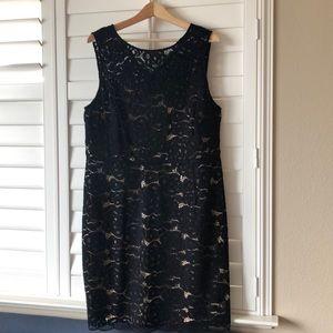 Ellen Tracy Size 14W Black Lace Cocktail Dress